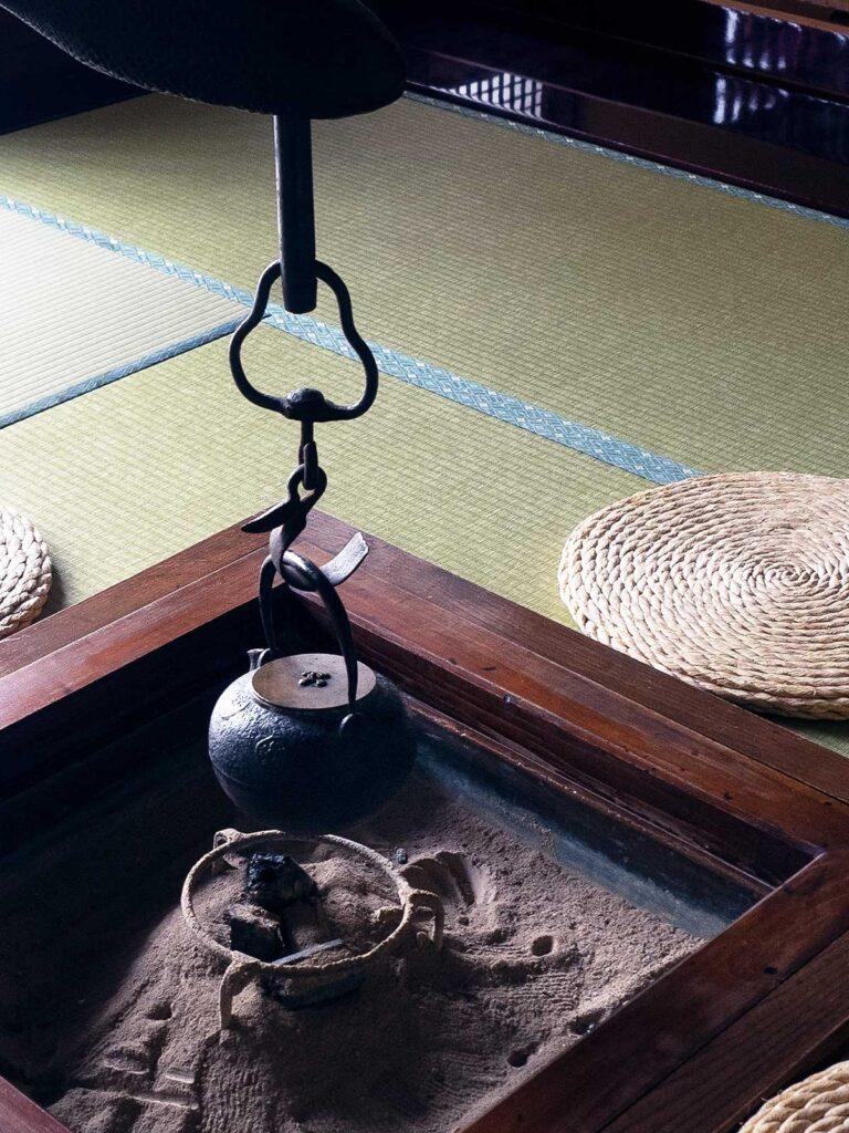 close up of irori japanese sunken hearth