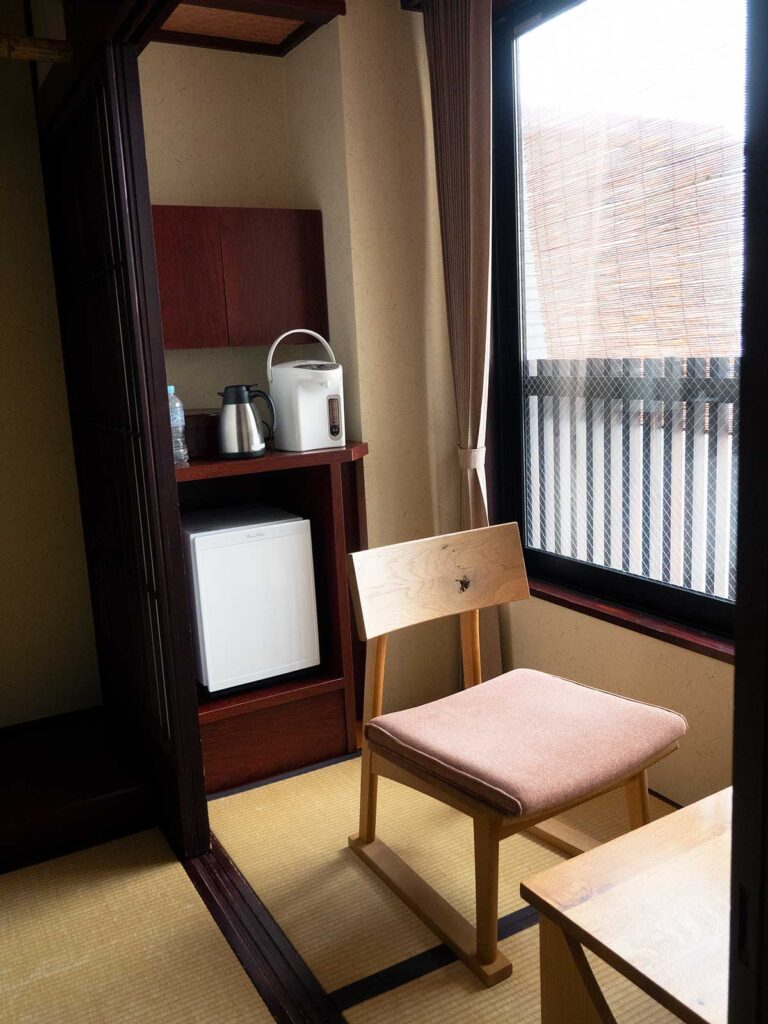 fridge and coffee tea facilities in guest room
